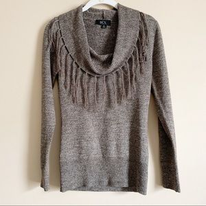 BCX / tan and brown cowl fringe neck sweater / M